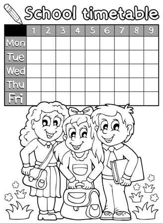 cronograma: Horario escolar Libro para colorear 4 Vectores