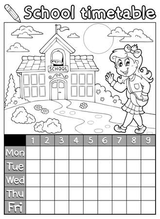 timetable: Coloring book school timetable 6 - eps10 vector illustration
