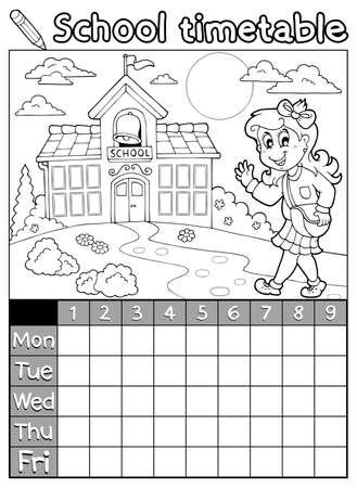 cronograma: Horario escolar Libro para colorear 6 - ilustración vectorial eps10 Vectores