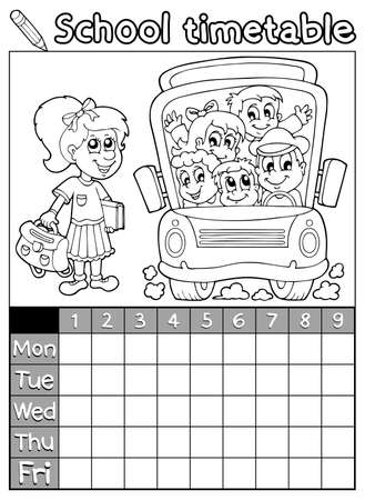 Coloring book school timetable 7 - eps10 vector illustration  Vector