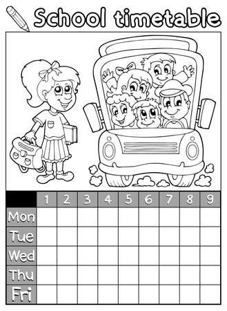 Coloring book school timetable 7 - eps10 vector illustration  Vector
