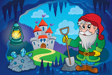 fairytale character: Dwarf in fairy tale cave - eps10 vector illustration