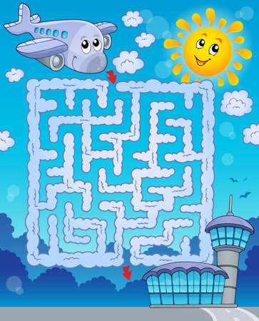 Maze 2 with airplane - eps10 vector illustration