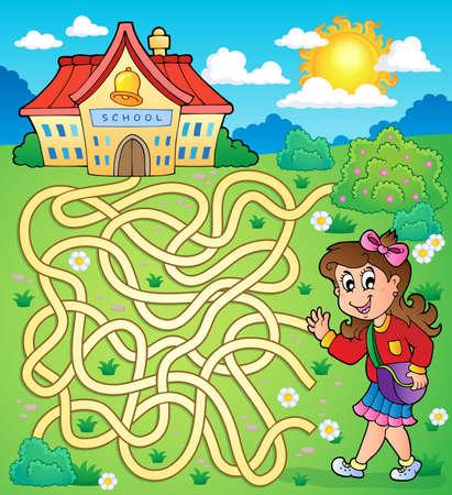 art activity: Maze 4 with schoolgirl
