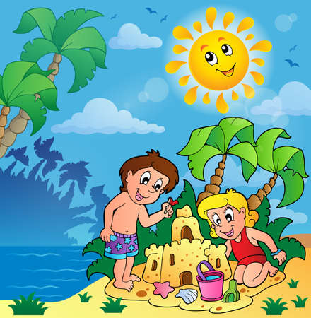 playing in the sea: Summer theme with children playing - eps10 vector illustration