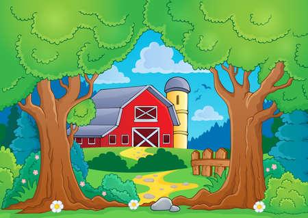 farmstead: Tree theme with farm 4 - eps10 vector illustration