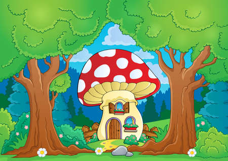 Tree theme with mushroom house - eps10 vector illustration  Vector