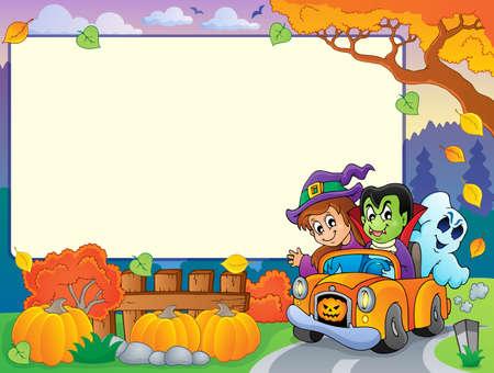 car leaf: Autumn frame with Halloween theme 3 - eps10 vector illustration