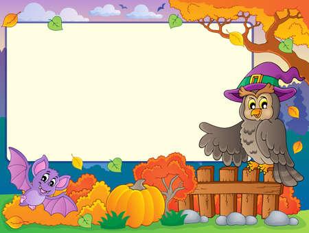 fruit bat: Autumn frame with Halloween theme 5 - eps10 vector illustration
