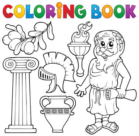 Coloring book Greek theme 1 - eps10 vector illustration  Illustration