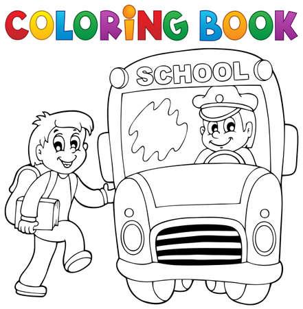 Coloring book school bus theme 2 - eps10 vector illustration