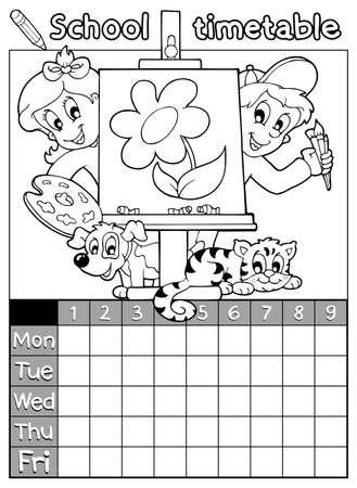 Schulplan Zeitplan Vorlage Memos Für Kinder Mit Kunst-Palette ...