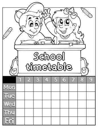 schooldesk: Coloring book timetable topic 2 - eps10 vector illustration  Illustration