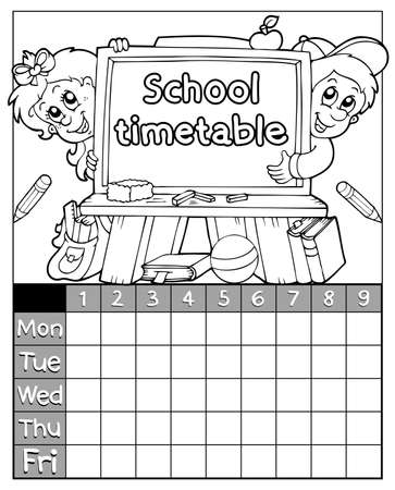 classes schedule: Coloring book timetable topic 3 - eps10 vector illustration