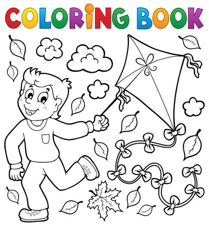 autumn colouring: Coloring book with boy and kite - eps10 vector illustration