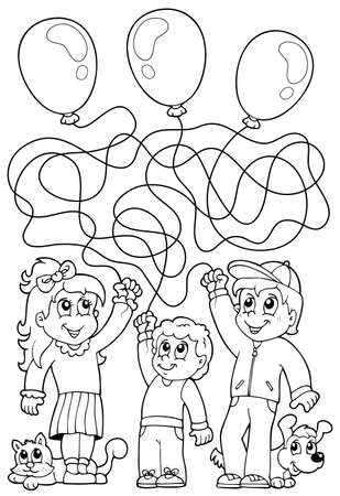 Maze 8 coloring book with children - eps10 vector illustration  Vector