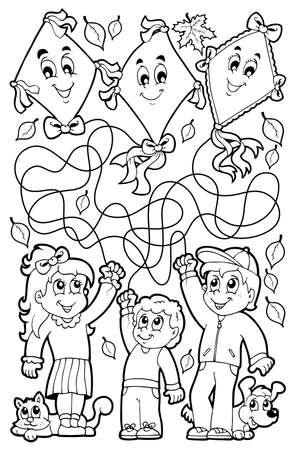 papalote: Laberinto 9 Libro para colorear con los niños - ilustración vectorial eps10