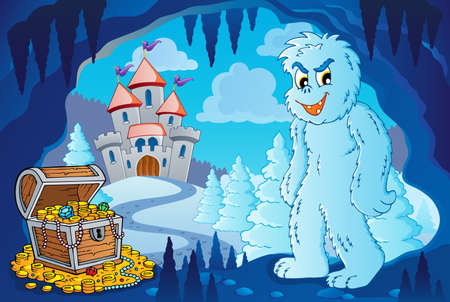 Winter cave with yeti - eps10 vector illustration  Vector