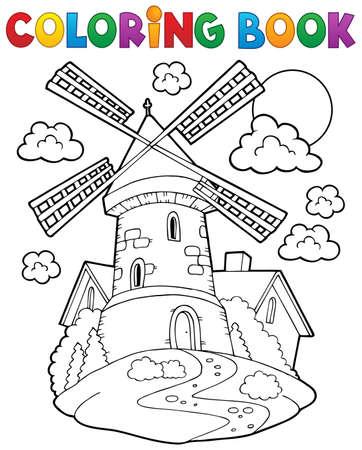 Coloring book mulino a vento 1 - illustrazione vettoriale eps10