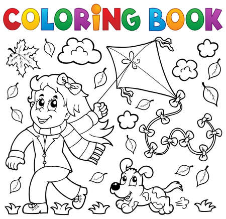 colouring: Coloring book with girl and kite - eps10 vector illustration
