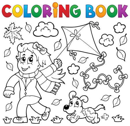 voador: Livro de colora��o com a menina e kite - ilustra��o do vetor eps10 Ilustra��o