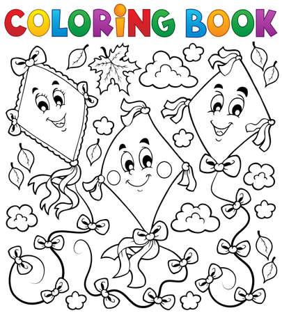 Coloring book with three kites - eps10 vector illustration  Ilustração