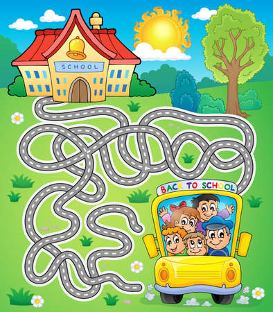 road safety: Maze 7 with school bus - eps10 vector illustration