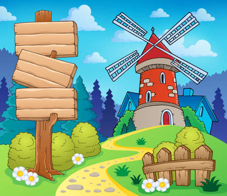 Scenery with sign and windmill - eps10 vector illustration  Vector