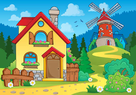 wind mills: Spring theme house and windmill - eps10 vector illustration