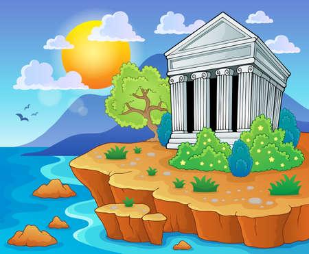 greek temple: Greek theme image  Illustration
