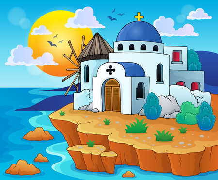 sea shore: Greek theme image  Illustration