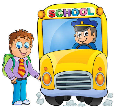 Image with school bus topic Vector