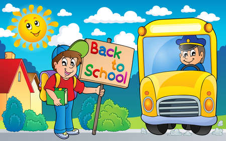 english countryside: Image with school bus topic Illustration