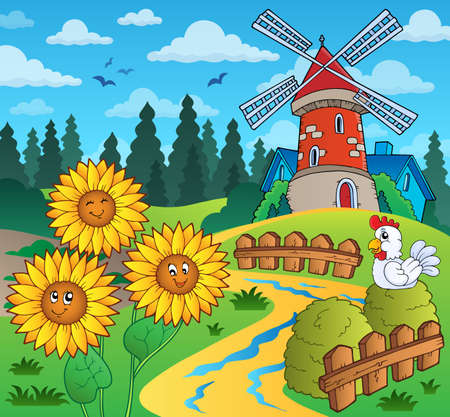 wind mills: Sunflowers near windmill  Illustration
