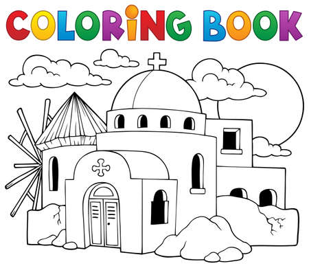 Coloring book Greek theme 向量圖像