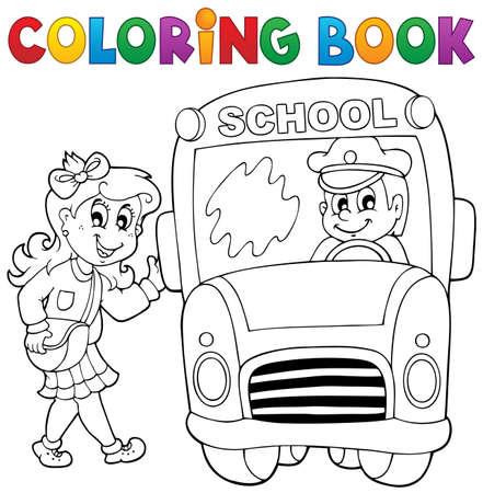Coloring book school bus theme  Vector