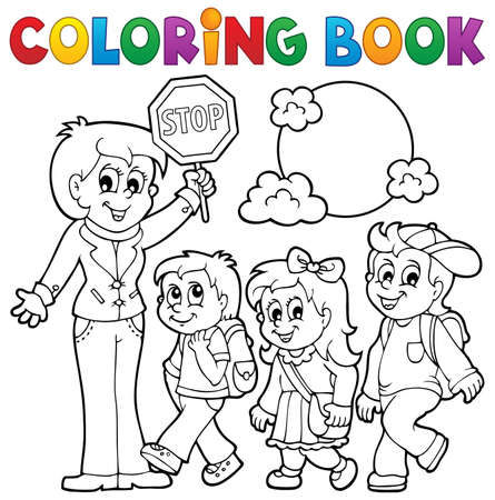 Coloring book school kids theme Vector