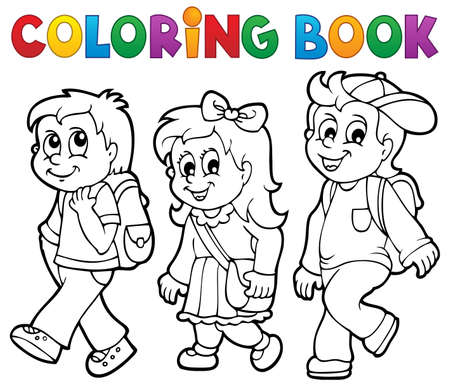 Coloring book school kids theme