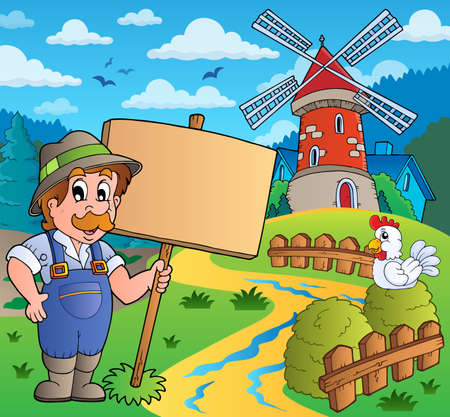 Farmer with sign near windmill  Vector