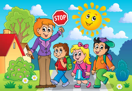 School kids theme image Vector