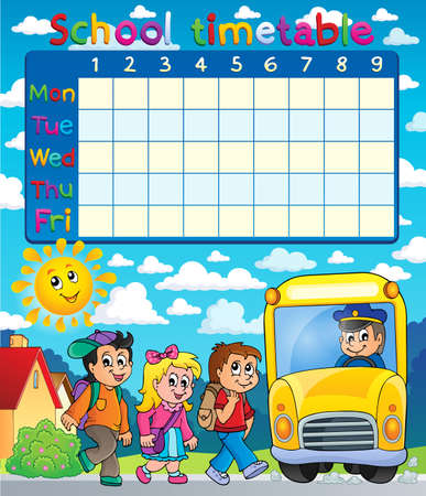 school schedule: School timetable composition  Illustration