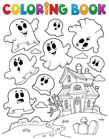 Coloring book ghost    Vector