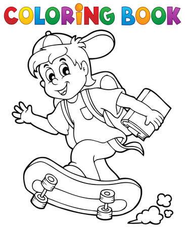 Kleurboek school jongen Stock Illustratie