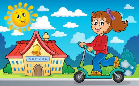 children studying: Girl on push scooter near school