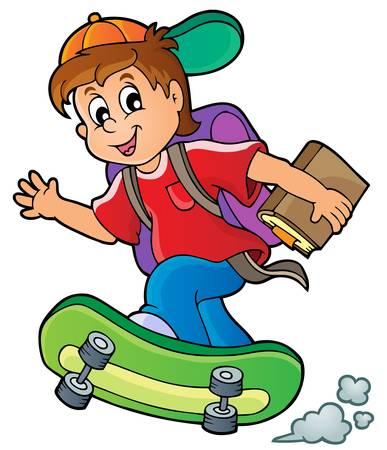 skateboard boy: Image with school boy theme