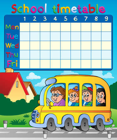 timetable: School timetable composition  Illustration