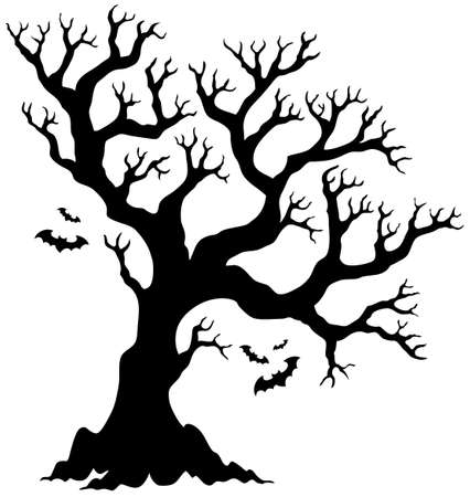 boughs: Silhouette Halloween tree with bats   Illustration