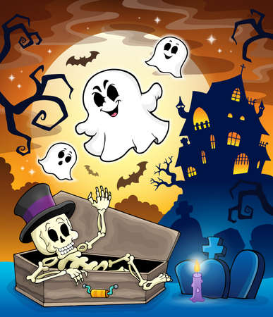Haunted house topic image 1 - eps10 vector illustration. Vector