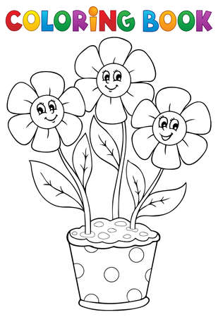 Coloring book with flower theme  Vector