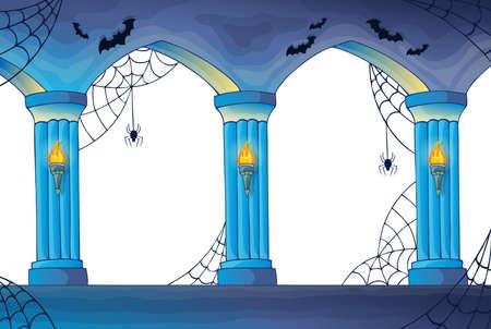 light columns: Haunted castle interior columns  Illustration